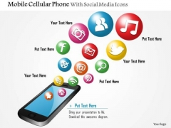 1 Mobile Cellular Phone With Social Media Icons Bubbling Up Ppt Slide