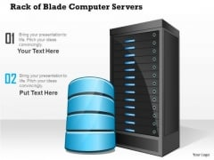 1 Rack Of Blade Computer Servers With Storage Or Database Within A Datacenter Ppt Slides