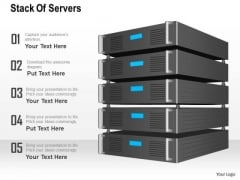 1 Stack Of Servers With Lcd Screen To Show Applications Running Inside Ppt Slides