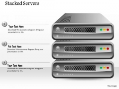 1 Stacked Servers With Red Green And Red Button To Show Any Concept Ppt Slides