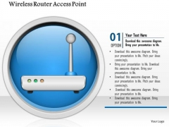 1 Wireless Router Access Point Icon On Internet Button Ppt Slide