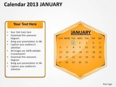 2013 January Calendar PowerPoint Slides Ppt Templates