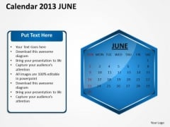 2013 June Calendar PowerPoint Slides Ppt Templates