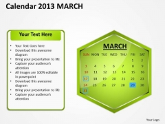 2013 March Calendar PowerPoint Slides Ppt Templates