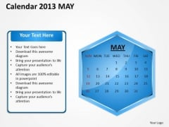 2013 May Calendar PowerPoint Slides Ppt Templates