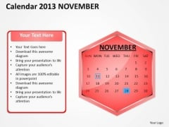 2013 November Calendar PowerPoint Slides Ppt Templates