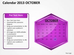 2013 October Calendar PowerPoint Slides Ppt Templates
