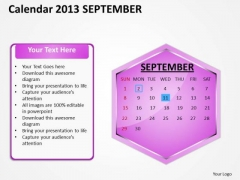 2013 September Calendar PowerPoint Slides Ppt Templates