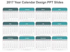 2017 Year Calendar Design Ppt Slides