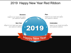 2019 Happy New Year Red Ribbon Ppt PowerPoint Presentation Summary Backgrounds