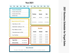 2021 Business Schedule For Target Sales Ppt PowerPoint Presentation Outline Microsoft PDF