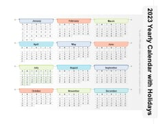 2023 Yearly Calendar With Holidays Ppt PowerPoint Presentation File Graphics Pictures PDF