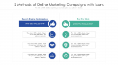 2 Methods Of Online Marketing Campaigns With Icons Ppt PowerPoint Presentation File Slide Portrait PDF