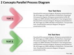 2 Concepts Parallel Process Diagram Outline Business Plan PowerPoint Slides