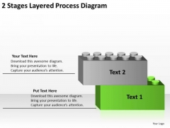 2 Stages Layered Process Diagram Business Plan PowerPoint Templates