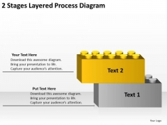 2 Stages Layered Process Diagram Business Plan Template PowerPoint Templates
