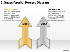 2 Stages Parallel Process Diagram Record Label Business Plan PowerPoint Templates