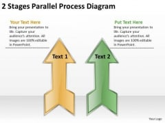 2 Stages Parallel Process Diagram Software Business Plan PowerPoint Templates