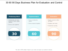 30 60 90 Days Business Plan For Evaluation And Control Ppt PowerPoint Presentation File Design Ideas