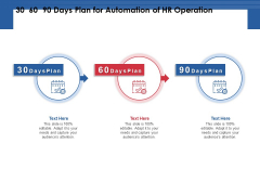 30 60 90 Days Plan For Automation Of HR Operation Ppt PowerPoint Presentation Summary Diagrams PDF