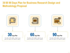 30 60 90 Days Plan For Business Research Design And Methodology Proposal Topics PDF