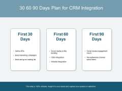 30 60 90 Days Plan For CRM Integration Ppt PowerPoint Presentation Model Themes