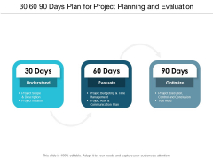 30 60 90 Days Plan For Project Planning And Evaluation Ppt PowerPoint Presentation Gallery Elements
