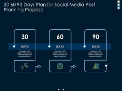 30 60 90 Days Plan For Social Media Post Planning Proposal Ppt PowerPoint Presentation Infographics Inspiration