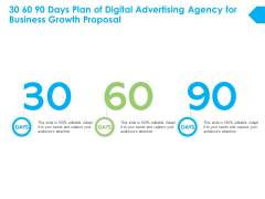 30 60 90 Days Plan Of Digital Advertising Agency For Business Growth Proposal Ppt PowerPoint Presentation File Templates