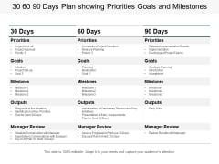 30 60 90 Days Plan Showing Priorities Goals And Milestones Ppt PowerPoint Presentation Infographic Template Graphics Template
