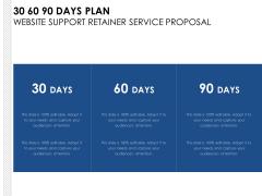30 60 90 Days Plan Website Support Retainer Service Proposal Ppt PowerPoint Presentation Portfolio Sample