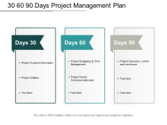 30 60 90 Days Project Management Plan Ppt PowerPoint Presentation Diagram Images