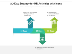 30 Day Strategy For HR Activities With Icons Ppt PowerPoint Presentation Gallery Ideas PDF