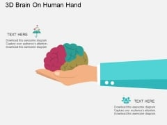 3D Brain On Human Hand Powerpoint Templates
