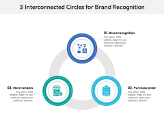 3 Interconnected Circles For Brand Recognition Ppt PowerPoint Presentation Professional Rules PDF