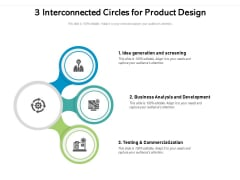 3 Interconnected Circles For Product Design Ppt PowerPoint Presentation Inspiration Example PDF