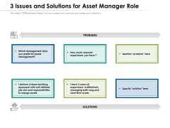 3 Issues And Solutions For Asset Manager Role Ppt PowerPoint Presentation File Smartart PDF