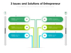 3 Issues And Solutions Of Entrepreneur Ppt PowerPoint Presentation File Files PDF