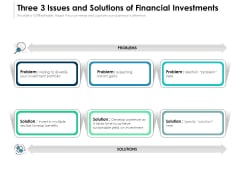 3 Issues And Solutions Of Financial Investments Ppt PowerPoint Presentation File Icons PDF