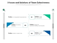 3 Issues And Solutions Of Team Cohesiveness Ppt PowerPoint Presentation File Grid PDF