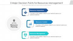 3 Major Decision Points For Resources Management Ppt PowerPoint Presentation Gallery Slides PDF
