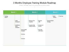 3 Months Employee Training Module Roadmap Slides