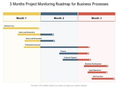 3 Months Project Monitoring Roadmap For Business Processes Professional