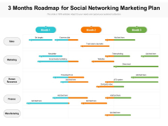 3 Months Roadmap For Social Networking Marketing Plan Summary