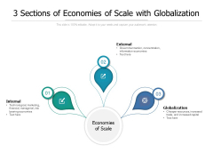 3 Sections Of Economies Of Scale With Globalization Ppt PowerPoint Presentation Icon Infographics PDF