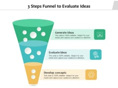 3 Steps Funnel To Evaluate Ideas Ppt PowerPoint Presentation File Picture PDF