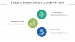 3 Steps Of Business Service Launch With Icons Ppt PowerPoint Presentation Gallery Icons PDF