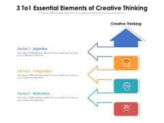 3 To1 Essential Elements Of Creative Thinking Ppt PowerPoint Presentation Gallery Design Templates PDF
