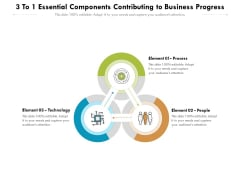 3 To 1 Essential Components Contributing To Business Progress Ppt PowerPoint Presentation Icon Example Topics PDF