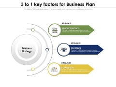 3 To 1 Key Factors For Business Plan Ppt PowerPoint Presentation File Vector PDF